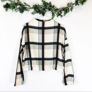 Zara Plaid Cropped Sweatshirt